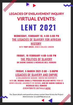 Legacies of Enslavement  Events Lent 2021